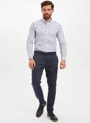 DeFacto Slim Fit Desenli Gömlek Beyaz
